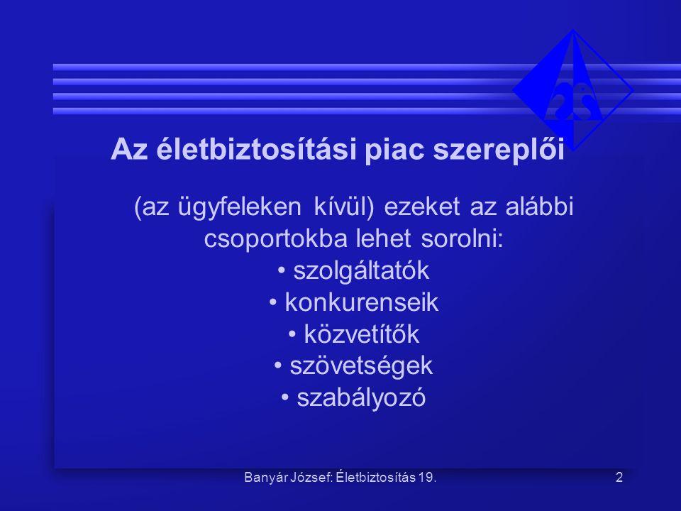 Banyár József: Életbiztosítás 19.13 A pénztárak alapvetően az életbiztosítás konkurenciájának tekinthetők.