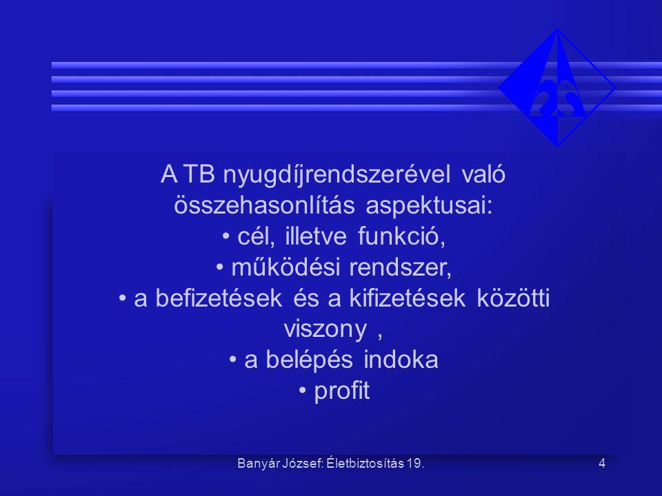 Banyár József: Életbiztosítás 19.4 A TB nyugdíjrendszerével való összehasonlítás aspektusai: cél, illetve funkció, működési rendszer, a befizetések és