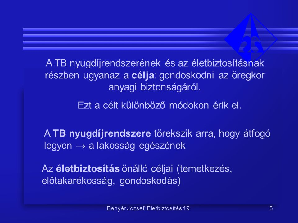 Banyár József: Életbiztosítás 19.5 A TB nyugdíjrendszerének és az életbiztosításnak részben ugyanaz a célja: gondoskodni az öregkor anyagi biztonságár