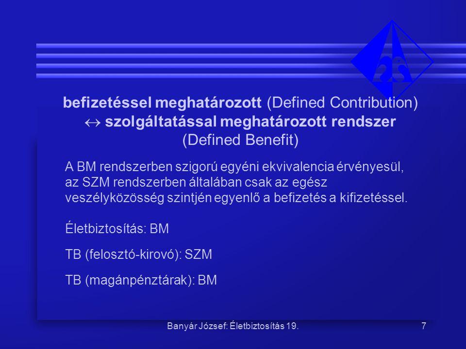 Banyár József: Életbiztosítás 19.7 befizetéssel meghatározott (Defined Contribution)  szolgáltatással meghatározott rendszer (Defined Benefit) A BM r