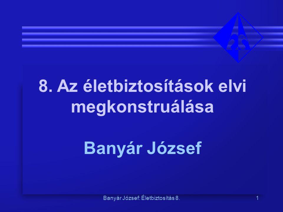 Banyár József: Életbiztosítás 8.2 Az életbiztosítások legáltalánosabb elemei a biztosítás egy speciális fogadás, ahol a fogadás tárgya egy egyértelműen negatív következményekkel járó esemény bekövetkezte, s ahol a biztosított – bizonyos értelemben – maga ellen fogad Példa: az első biztosítás