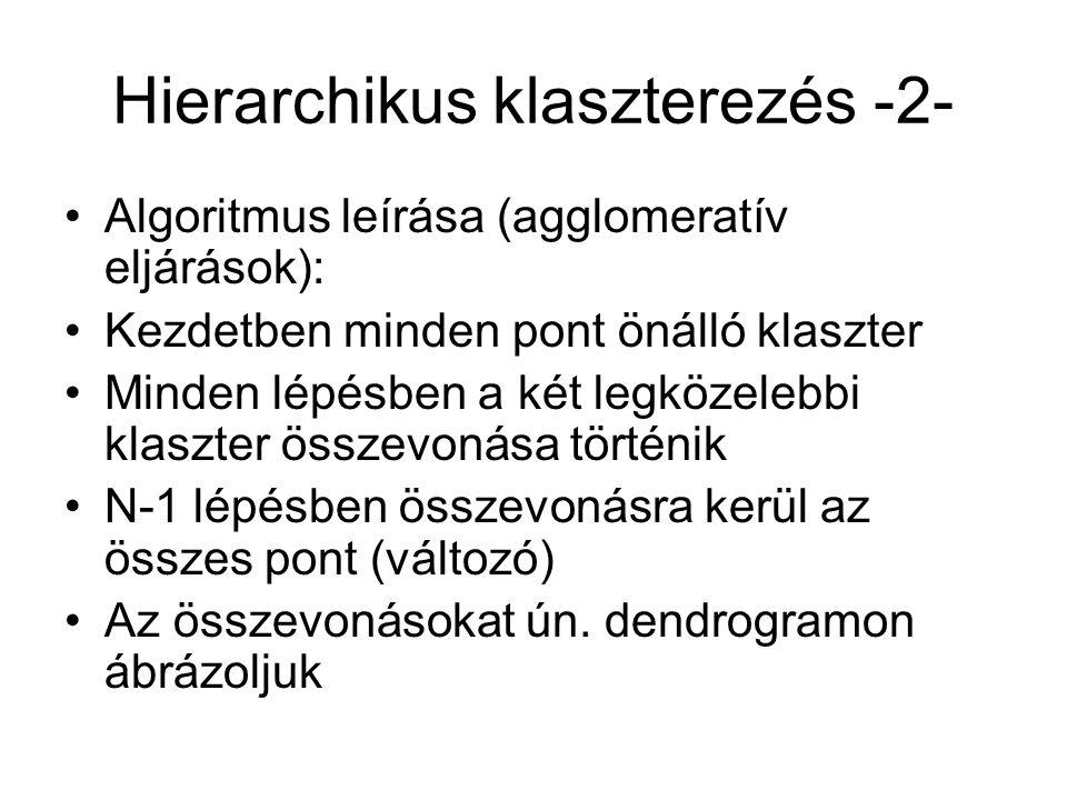 Hierarchikus klaszterezés -3- Két lényeges kérdés: Mit értünk két pont távolságán (hasonlóságán) Mit értünk két klaszter távolságán (un.