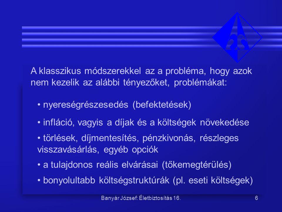 Banyár József: Életbiztosítás 16.6 A klasszikus módszerekkel az a probléma, hogy azok nem kezelik az alábbi tényezőket, problémákat: nyereségrészesedé