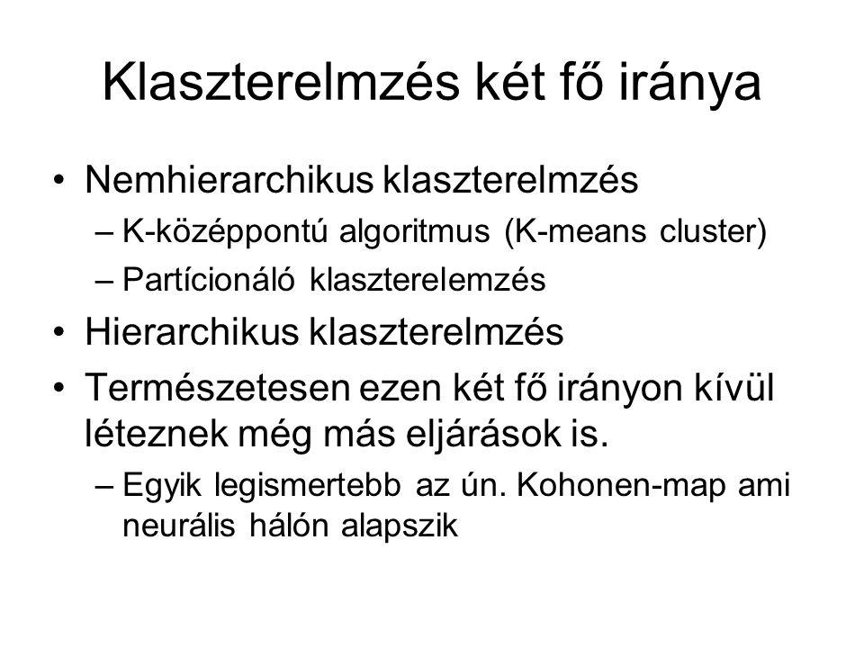 Klaszterelmzés két fő iránya Nemhierarchikus klaszterelmzés –K-középpontú algoritmus (K-means cluster) –Partícionáló klaszterelemzés Hierarchikus klaszterelmzés Természetesen ezen két fő irányon kívül léteznek még más eljárások is.