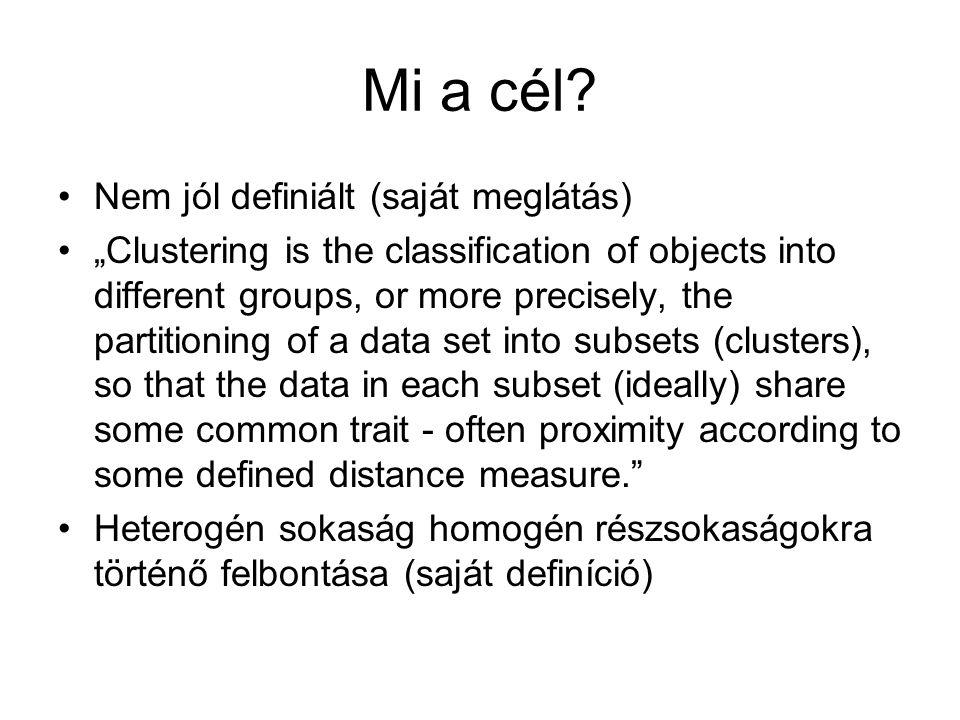 Előnyök Nem szükséges az eloszlást ismerni Gyakorlatilag bármilyen adatállományon lehet klaszterelemzést végezni