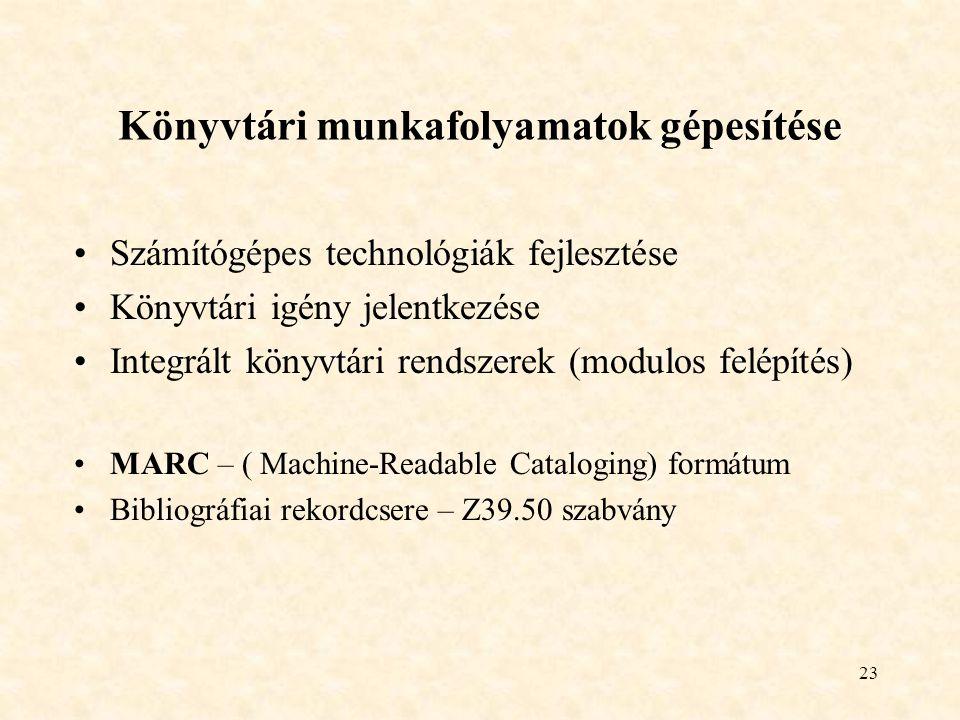 23 Könyvtári munkafolyamatok gépesítése Számítógépes technológiák fejlesztése Könyvtári igény jelentkezése Integrált könyvtári rendszerek (modulos fel