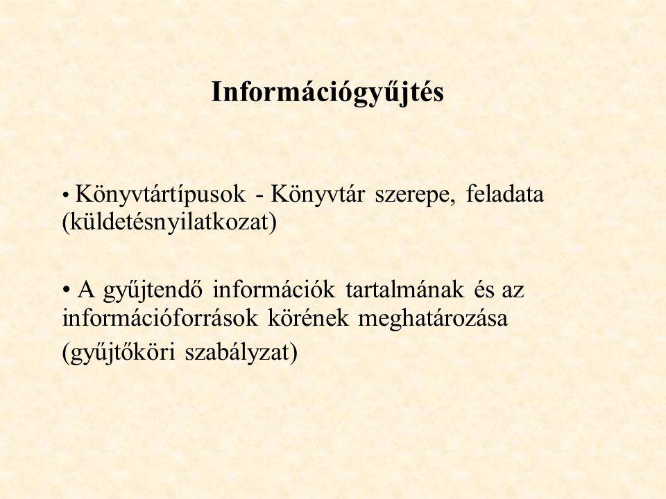 Információgyűjtés Könyvtártípusok - Könyvtár szerepe, feladata (küldetésnyilatkozat) A gyűjtendő információk tartalmának és az információforrások köré