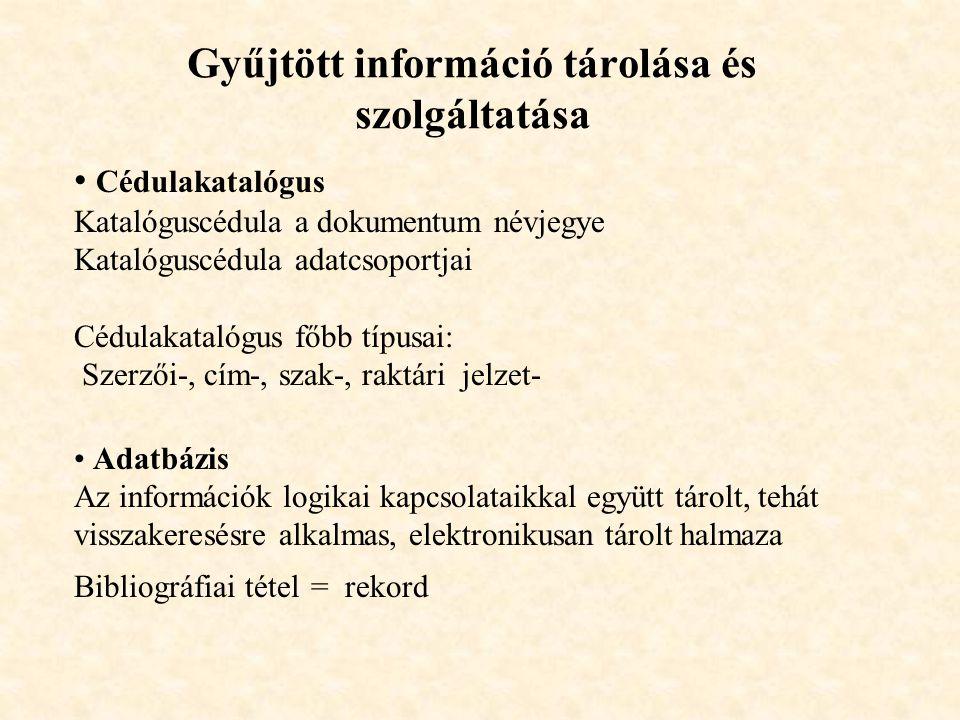 Gyűjtött információ tárolása és szolgáltatása Cédulakatalógus Katalóguscédula a dokumentum névjegye Katalóguscédula adatcsoportjai Cédulakatalógus főb