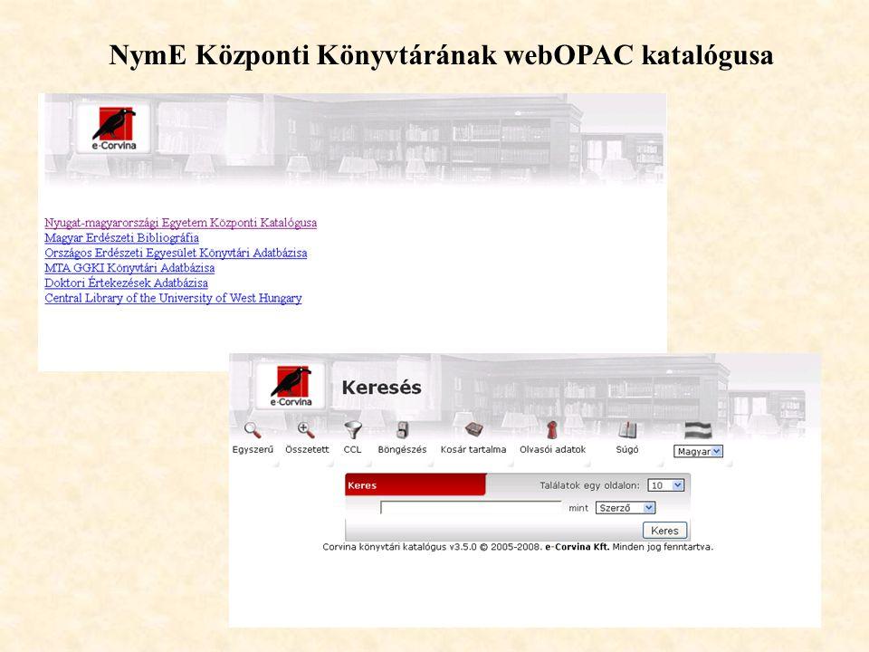 29 NymE Központi Könyvtárának webOPAC katalógusa