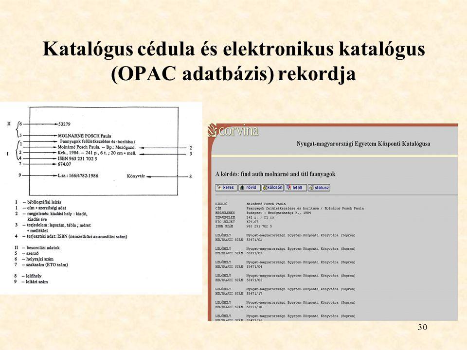 30 Katalógus cédula és elektronikus katalógus (OPAC adatbázis) rekordja