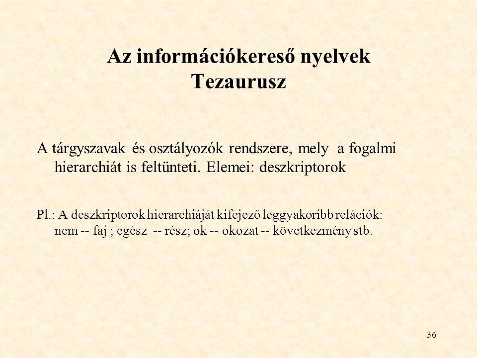 36 Az információkereső nyelvek Tezaurusz A tárgyszavak és osztályozók rendszere, mely a fogalmi hierarchiát is feltünteti. Elemei: deszkriptorok Pl.: