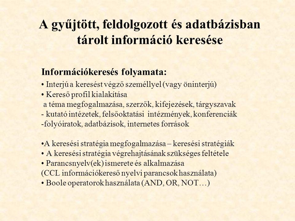 A gyűjtött, feldolgozott és adatbázisban tárolt információ keresése Információkeresés folyamata: Interjú a keresést végző személlyel (vagy öninterjú)