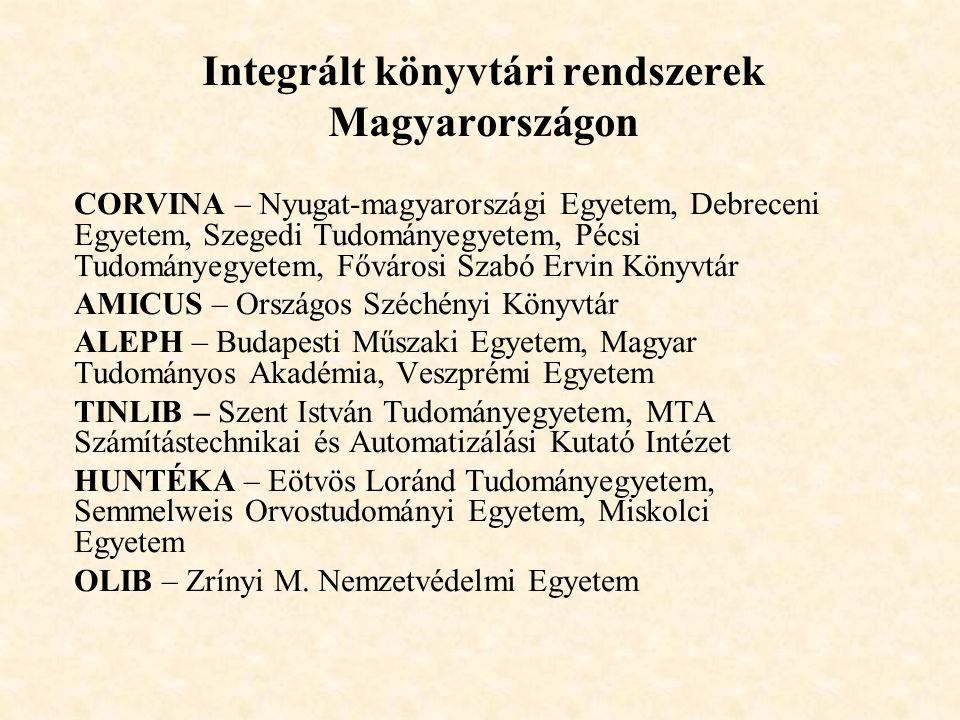 Integrált könyvtári rendszerek Magyarországon CORVINA – Nyugat-magyarországi Egyetem, Debreceni Egyetem, Szegedi Tudományegyetem, Pécsi Tudományegyete