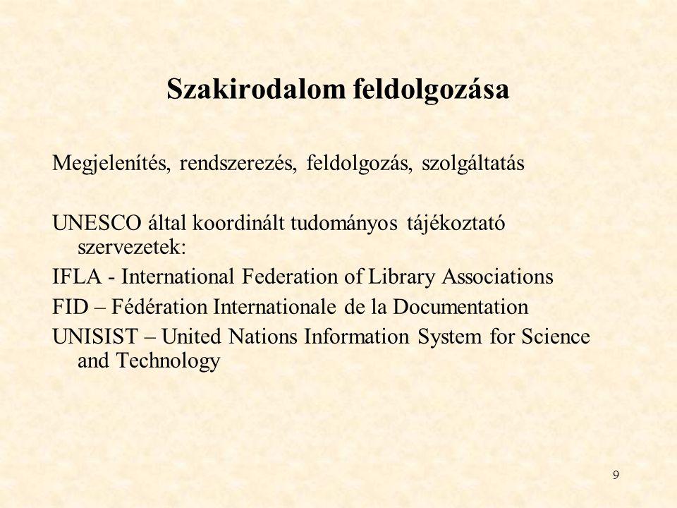 10 Tudományos kommunikáció Tudományos kommunikáció csatornái Formális csatornák - szakkönyvek, tudományos folyóiratok, különlenyomatok Informális csatornák - jelentések (reportok), preprintek, konferencia anyagok Szakirodalom osztályozása Elsődleges- primer Új információkat közöl - kutatási jelentések, konferenciaanyagok, folyóiratok, disszertációk, szabványok, szabadalmak Másodlagos – szekunder Az elsődleges dokumentációkat dolgoz fel - szakkönyvek, kézikönyvek, enciklopédiák, szakfordítások, összefoglaló cikkek, referátumok, bibliográfiák, katalógusok Harmadlagos – tercier Bibliográfiák bibliográfiája, folyóiratok és könyvek címjegyzéke, adatbázisok katalógusai
