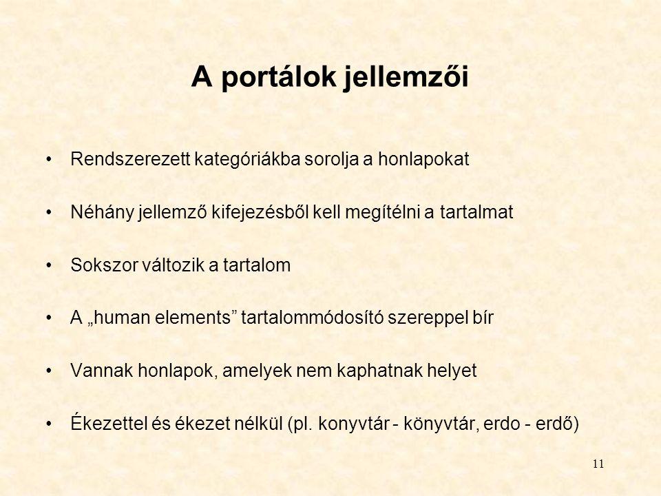 11 A portálok jellemzői Rendszerezett kategóriákba sorolja a honlapokat Néhány jellemző kifejezésből kell megítélni a tartalmat Sokszor változik a tar