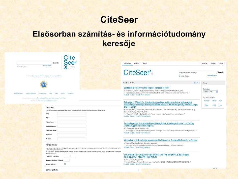20 CiteSeer Elsősorban számítás- és információtudomány keresője
