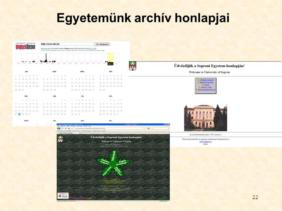 22 Egyetemünk archív honlapjai