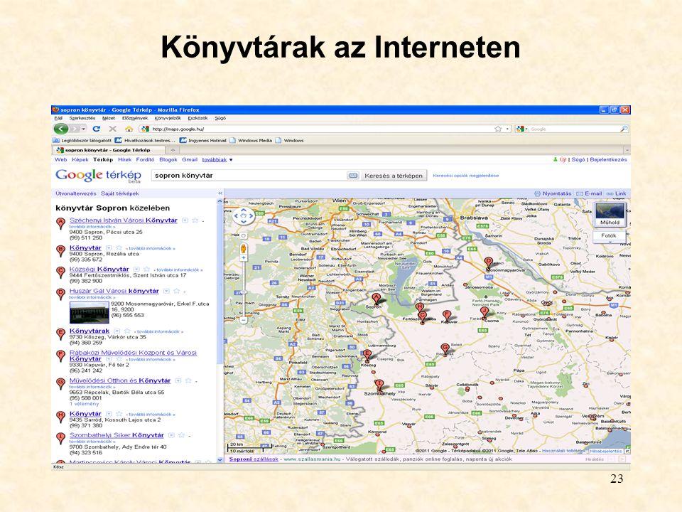 23 Könyvtárak az Interneten