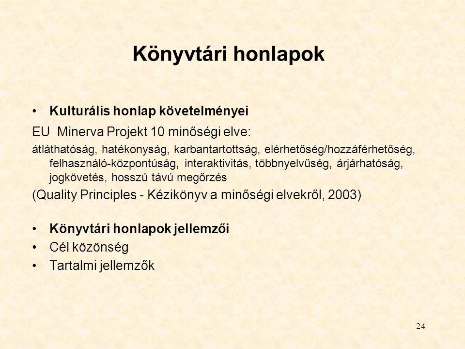 24 Könyvtári honlapok Kulturális honlap követelményei EU Minerva Projekt 10 minőségi elve: átláthatóság, hatékonyság, karbantartottság, elérhetőség/ho