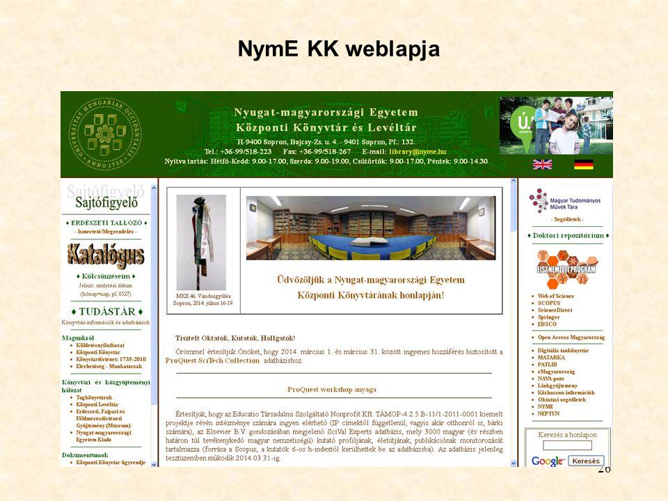 26 NymE KK weblapja