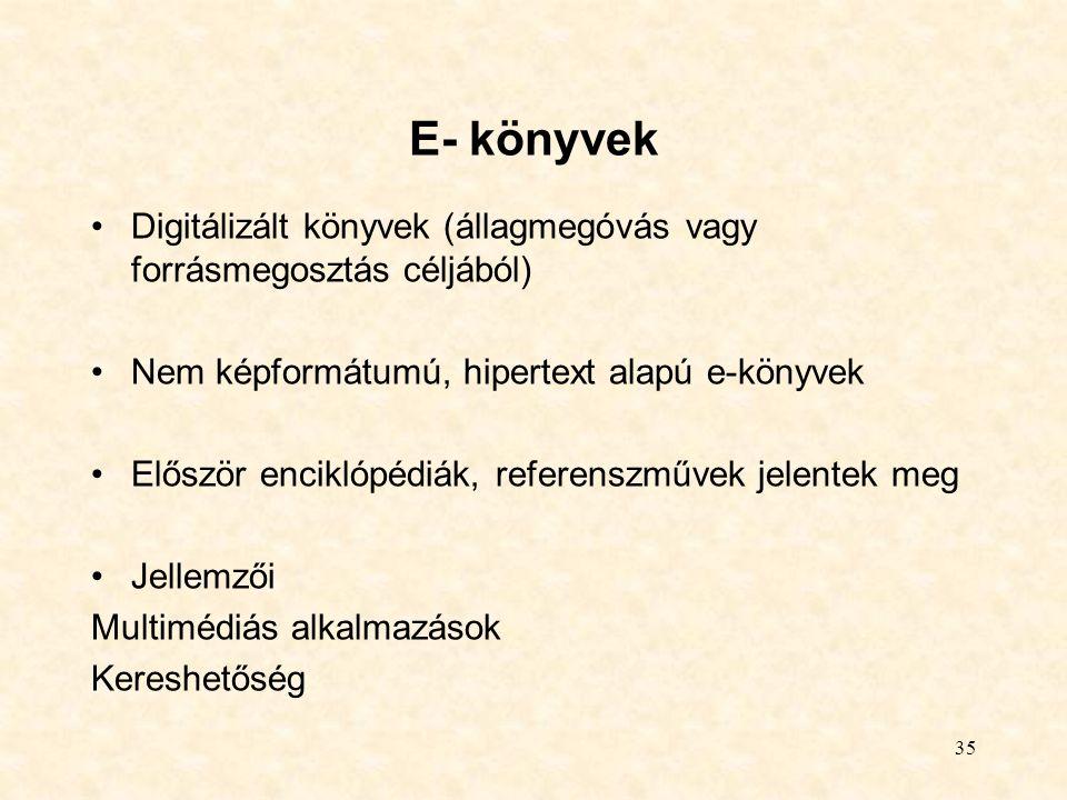 35 E- könyvek Digitálizált könyvek (állagmegóvás vagy forrásmegosztás céljából) Nem képformátumú, hipertext alapú e-könyvek Először enciklópédiák, ref