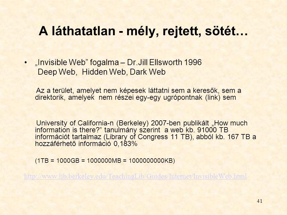 """41 A láthatatlan - mély, rejtett, sötét… """"Invisible Web"""" fogalma – Dr.Jill Ellsworth 1996 Deep Web, Hidden Web, Dark Web Az a terület, amelyet nem kép"""