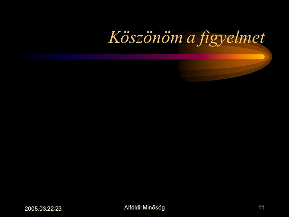 """2005.03.22-23 Alföldi: Minőség10 Kérdések holnapra Könyvtár vagy """"könyvnet""""? Jövőkép prognózisok - szerintünk Együttműködés és/vagy specializálódás? """""""