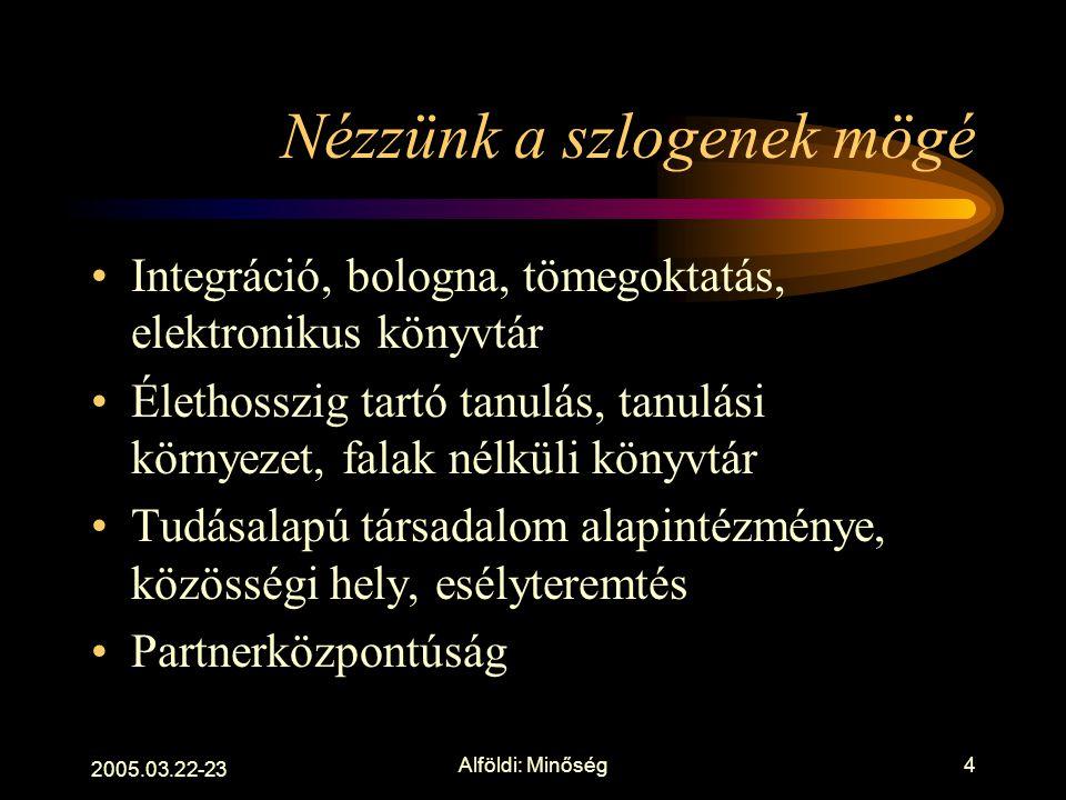 2005.03.22-23 Alföldi: Minőség3 Értelmezés - értékelés Minőség nincs általában, csak meghatározott célok tükrében van létjogosultsága Kiválóság, célna