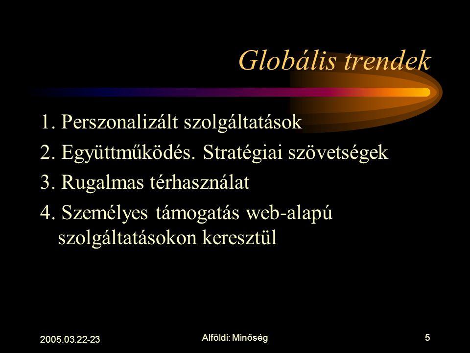 2005.03.22-23 Alföldi: Minőség4 Nézzünk a szlogenek mögé Integráció, bologna, tömegoktatás, elektronikus könyvtár Élethosszig tartó tanulás, tanulási