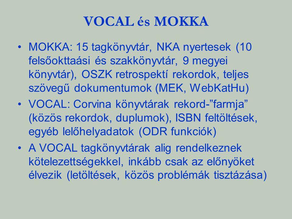 VOCAL és MOKKA MOKKA: 15 tagkönyvtár, NKA nyertesek (10 felsőokttaási és szakkönyvtár, 9 megyei könyvtár), OSZK retrospektí rekordok, teljes szövegű d