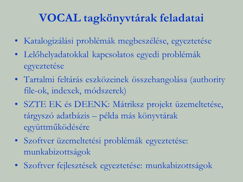 VOCAL tagkönyvtárak feladatai Katalogizálási problémák megbeszélése, egyeztetése Lelőhelyadatokkal kapcsolatos egyedi problémák egyeztetése Tartalmi f