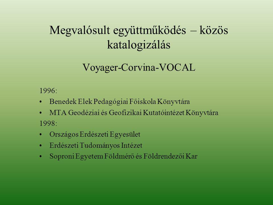 Megvalósult együttműködés – közös katalogizálás Voyager-Corvina-VOCAL 1996: Benedek Elek Pedagógiai Főiskola Könyvtára MTA Geodéziai és Geofizikai Kutatóintézet Könyvtára 1998: Országos Erdészeti Egyesület Erdészeti Tudományos Intézet Soproni Egyetem Földmérő és Földrendezői Kar