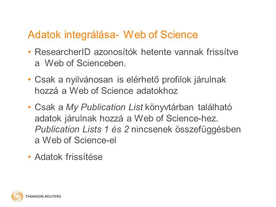 Adatok integrálása- Web of Science ResearcherID azonosítók hetente vannak frissítve a Web of Scienceben. Csak a nyilvánosan is elérhető profilok járul