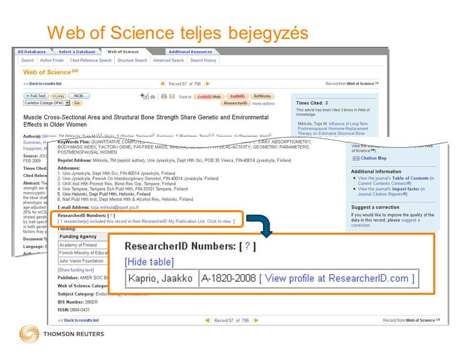 Web of Science teljes bejegyzés