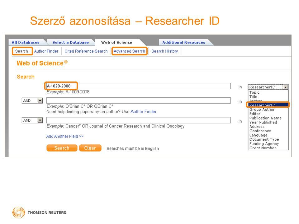 Szerző azonosítása – Researcher ID
