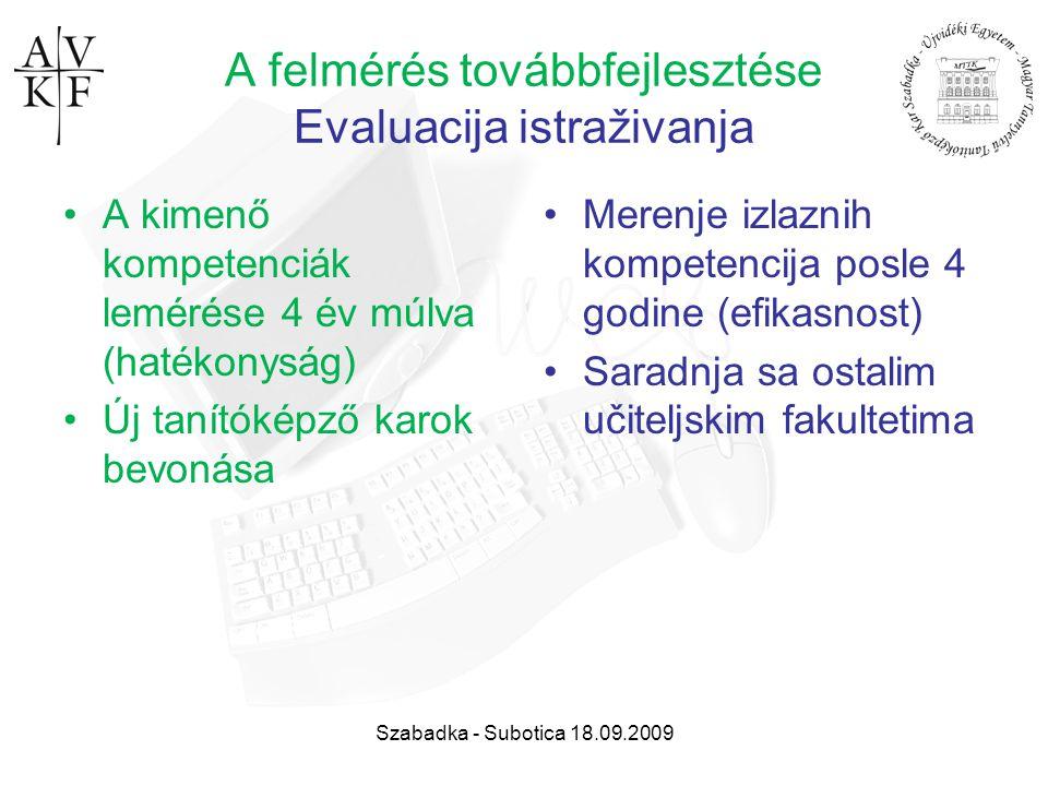 Szabadka - Subotica 18.09.2009 A felmérés továbbfejlesztése Evaluacija istraživanja A kimenő kompetenciák lemérése 4 év múlva (hatékonyság) Új tanítók