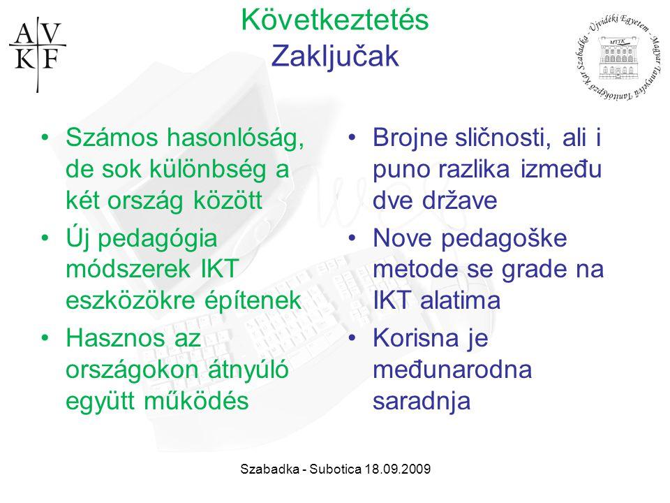 Szabadka - Subotica 18.09.2009 Következtetés Zaključak Számos hasonlóság, de sok különbség a két ország között Új pedagógia módszerek IKT eszközökre é