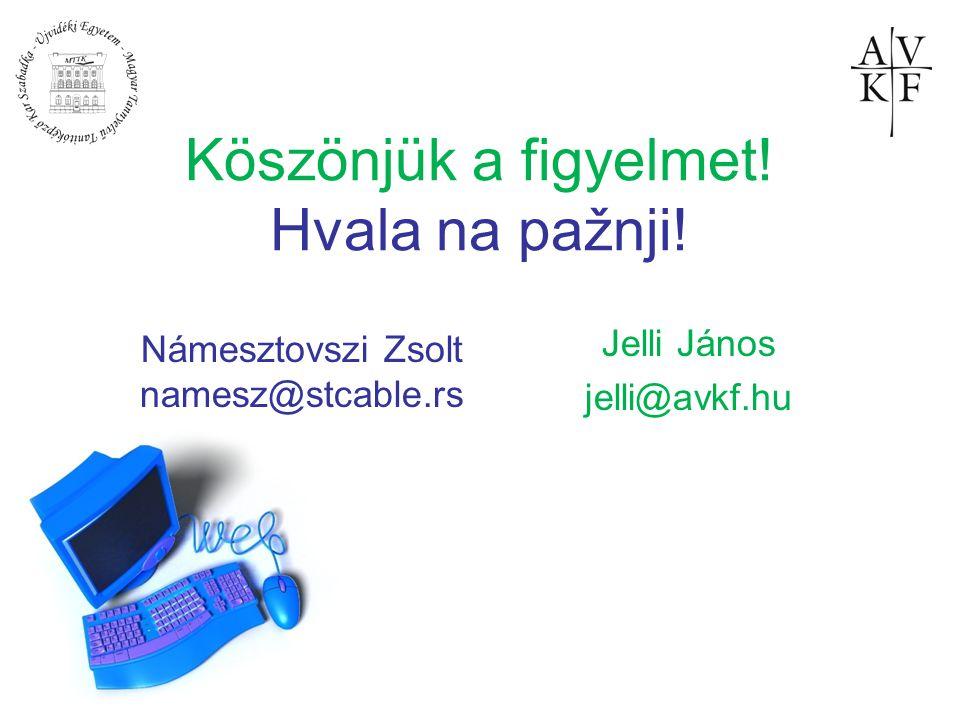 Köszönjük a figyelmet! Hvala na pažnji! Jelli János jelli@avkf.hu Námesztovszi Zsolt namesz@stcable.rs