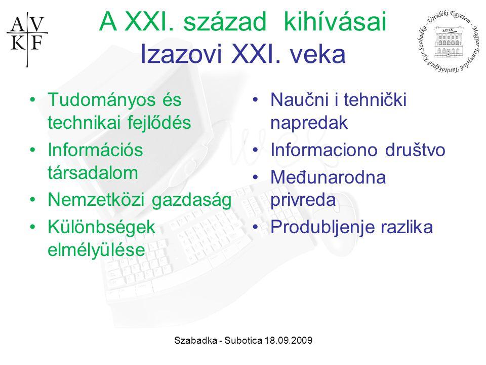 Szabadka - Subotica 18.09.2009 A XXI. század kihívásai Izazovi XXI. veka Tudományos és technikai fejlődés Információs társadalom Nemzetközi gazdaság K