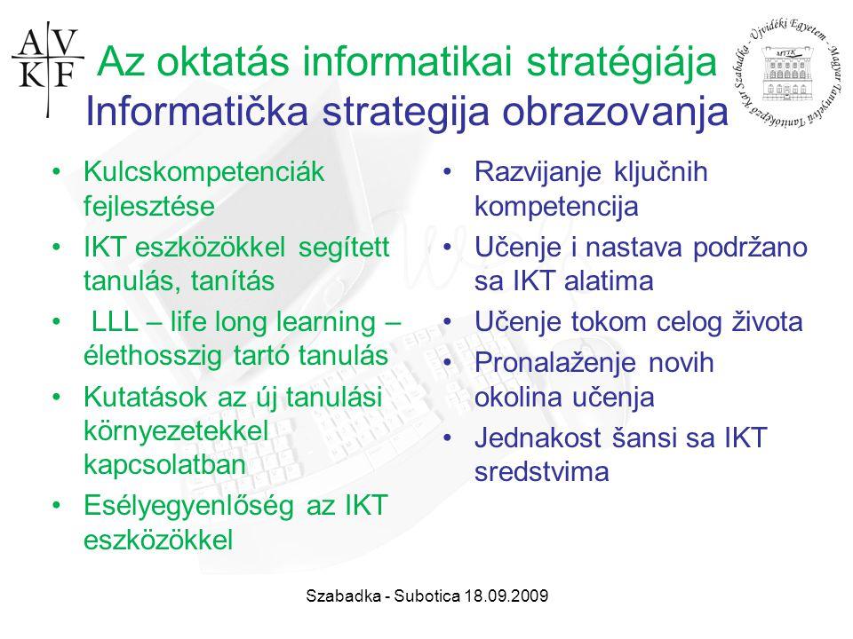 Szabadka - Subotica 18.09.2009 Az oktatás informatikai stratégiája Informatička strategija obrazovanja Kulcskompetenciák fejlesztése IKT eszközökkel s