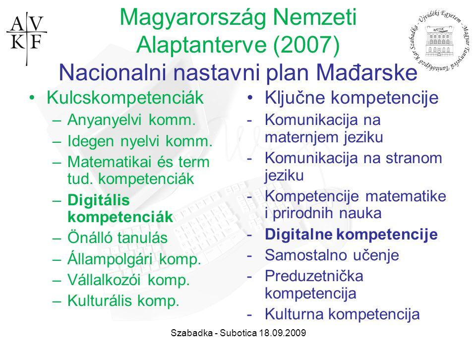 Szabadka - Subotica 18.09.2009 Magyarország Nemzeti Alaptanterve (2007) Nacionalni nastavni plan Mađarske Kulcskompetenciák –Anyanyelvi komm. –Idegen