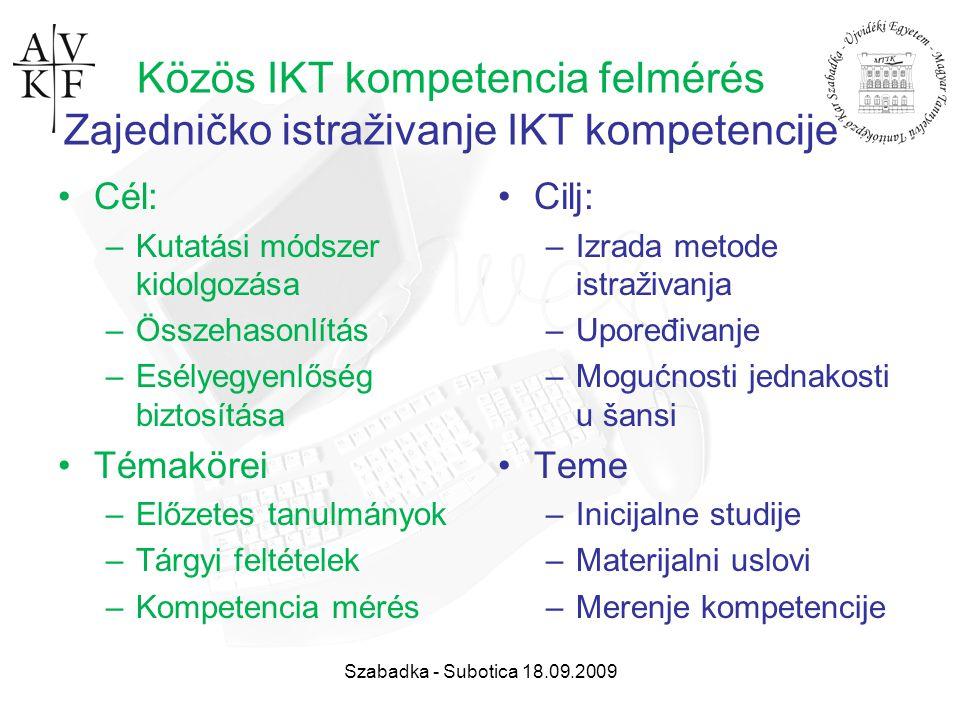 Szabadka - Subotica 18.09.2009 Közös IKT kompetencia felmérés Zajedničko istraživanje IKT kompetencije Cél: –Kutatási módszer kidolgozása –Összehasonl