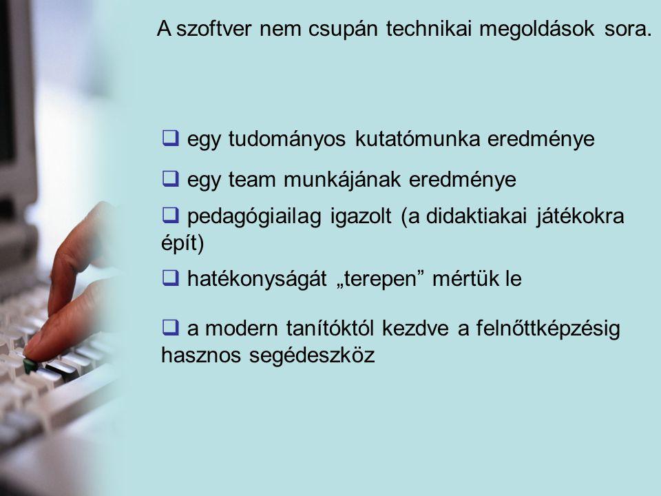 A szoftver nem csupán technikai megoldások sora.  egy tudományos kutatómunka eredménye gy team munkájának eredménye  pedagógiailag igazolt (a didakt