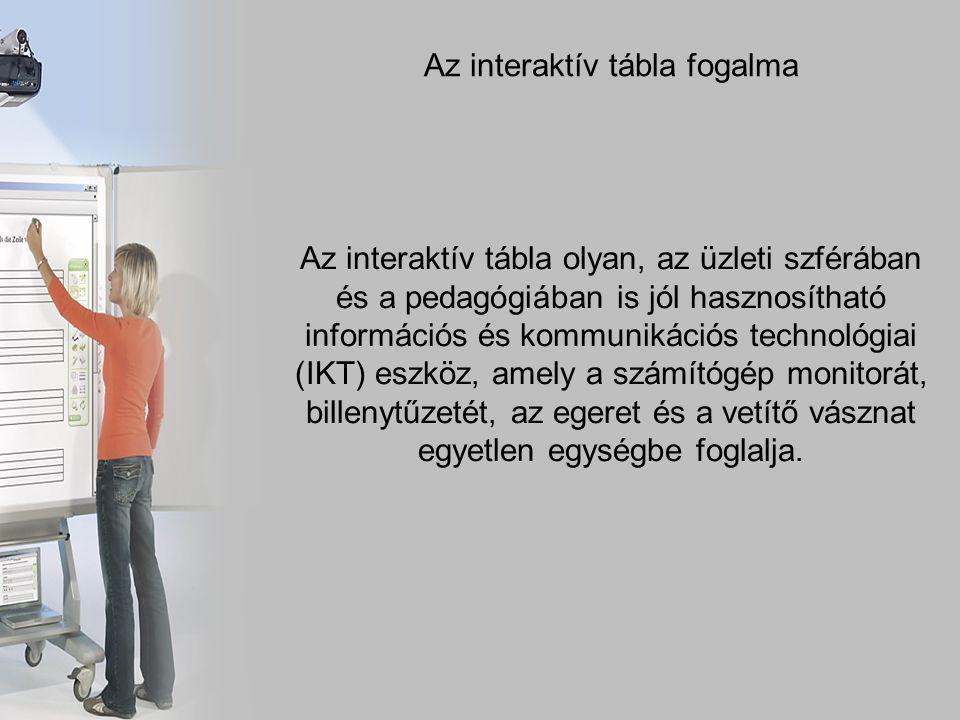 Az interaktív tábla fogalma Az interaktív tábla olyan, az üzleti szférában és a pedagógiában is jól hasznosítható információs és kommunikációs technológiai (IKT) eszköz, amely a számítógép monitorát, billenytűzetét, az egeret és a vetítő vásznat egyetlen egységbe foglalja.