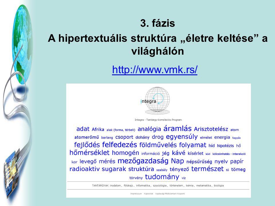 4. fázis A hipertextuális rendszer bővítése, kiegészítése szöveggel, képekkel és multimédiákkal