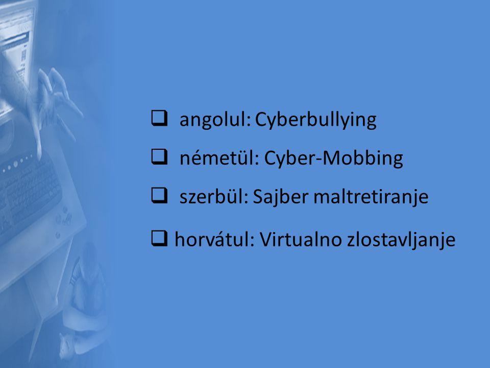  a angolul: Cyberbullying  n németül: Cyber-Mobbing  s szerbül: Sajber maltretiranje hhorvátul: Virtualno zlostavljanje