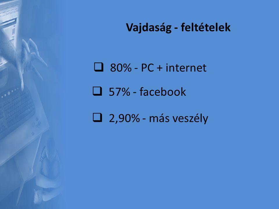 Vajdaság - feltételek  8 80% - PC + internet  5 57% - facebook  2 2,90% - más veszély