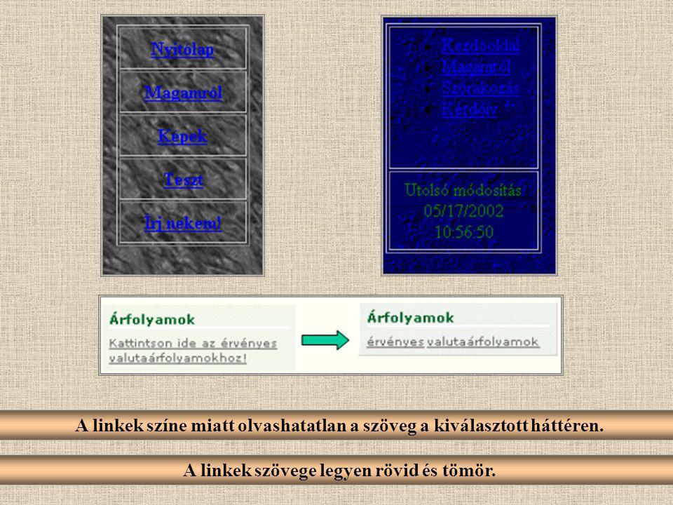 A linkek színe miatt olvashatatlan a szöveg a kiválasztott háttéren. A linkek szövege legyen rövid és tömör.