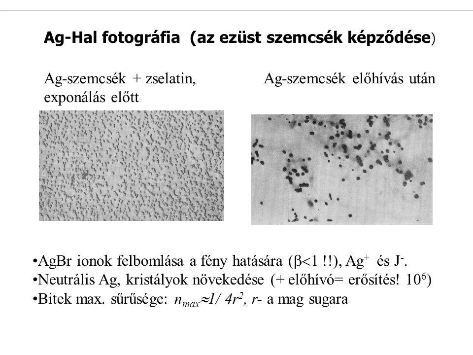 Ag-Hal fotográfia (az ezüst szemcsék képződése ) Ag-szemcsék + zselatin, exponálás előtt Ag-szemcsék előhívás után AgBr ionok felbomlása a fény hatására (  1 !!), Ag + és J -.