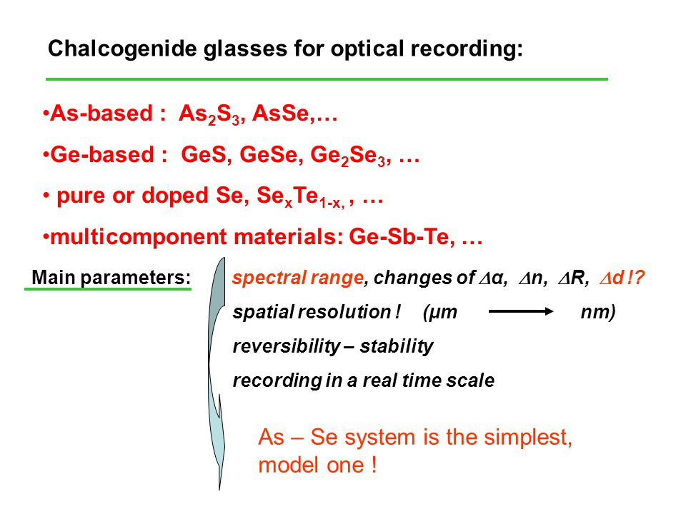 Chalcogenide glasses for optical recording: As-based : As 2 S 3, AsSe,… Ge-based : GeS, GeSe, Ge 2 Se 3, … pure or doped Se, Se x Te 1-x,, … multicomp